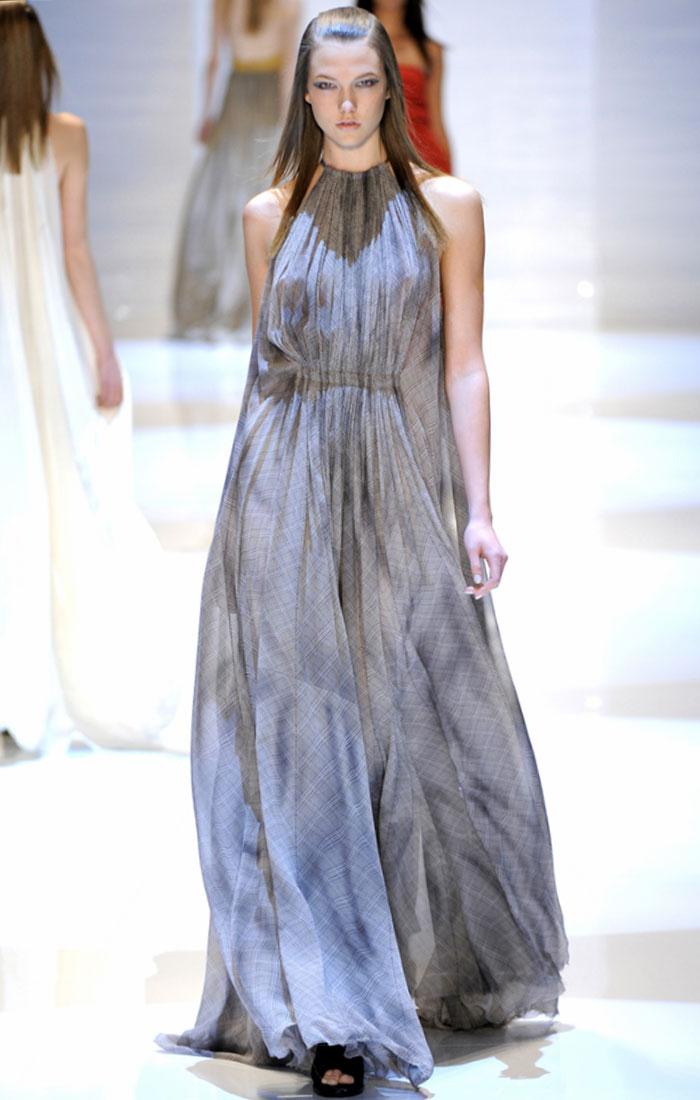Derek Lam Fall 2011 Blue Maxi Dress Karlie Kloss