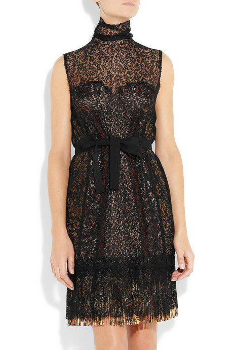 bottega veneta silk blend lace bustier dress